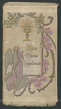 Holy card tela de seda antique Primera Comunion santino estampa image pieuse