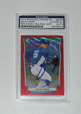 JULIO URIAS SIGNED AUTO'D 2014 BOWMAN CHROME RED WAVE 22/25 PSA/DNA SLAB RC COA
