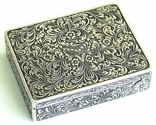 Antique Vintage Sterling Silver Chased Powder Mirror Compact Lipstick Box
