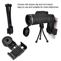 40X HD Optical Monocular Travel Scope Telescope + Tripod Clip For Cellphone