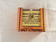 Vtg Mid Century Whirley Push Button Advertising Front  Salt & Pepper Shakers
