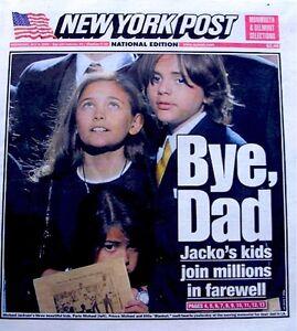 Michael Jackson Newspaper New York Post 2009 Bye Dad Tribute Thriller Pop King