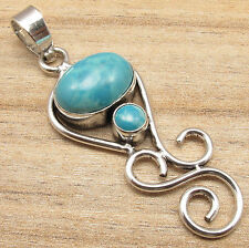 SHIPPING 925 Silver Plated Simulated LARIMAR HANDMADE Pendant Jewelry