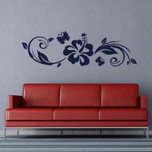 Wandtattoo Hibiskus & Schmetterling Ranke Aufkleber Wall Art Wand Tattoo #2011