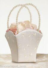 Ivory Vine Flower Girl Basket Pearl Handle Embroidered Wedding Basket