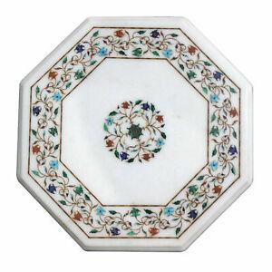 "15"" Marble Table Top Handmade Natural Semi Precious Stones Inlay Home Decor"