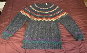 Vintage 1990's Tommy Hilfiger Knitted By Hand Wool Sweater Chevron Gray Large