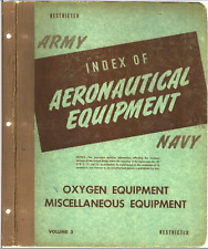 Army Navy Index Aeronautical Equipment Volume 3 Oxygen & Misc Equip Manual on Cd