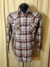 Mens Vintage 1960s Ponderosa Wool Western Shirt L Brown Plaids Long Sleeve