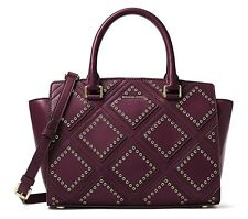 Original Michael Kors Tasche/Bag Selma MD Diamond Grommet Leder Plum NEUUVP:495€
