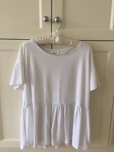 SEED Heritage Femme Chic Pure Cotton Ruffle Hem Top Tee White M New