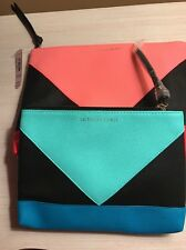 Victorias Secret Turquoise Coral Bright Makeup Cosmetic Bags Set Of 2 New