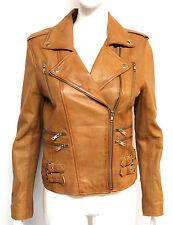 Loreal Womens Ladies Tan West Designer Celebrity Fashion Model Leather Jacket