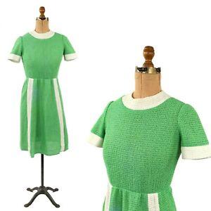 Vintage 60s Green + White Semi Sheer Cotton Knit Mod Stripe Dress S