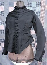 GOTHIC VICTORIAN 1870'S BLACK SILK BODICE FOR DRESS W STAR BUTTONS & BUSTLE BACK