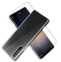 SDTEK Coque pour Sony Xperia 1 II + Protection écran Verre Clear Gel Cover