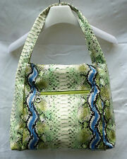 Große Schlangenleder Handtasche grün blau schwarz ecru Shopper Kroko Tasche