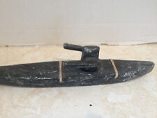 VINTAGE INUIT ESKIMO STONE HAND CARVED SEAL HUNTER & KAYAK