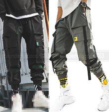 Straps Cargo Ankle Pants Multi Pockets Baggy Harem Jogger Men Hip Hop Drawstring