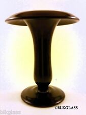 Jet Black Ebony Glass Modified Trumpet Vase Rolled Rim Distinctive Flower Floral