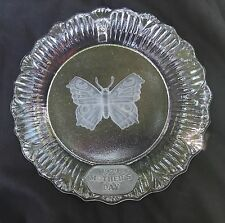 """Goebel Clear Glass 1979 Butterfly Mother's Day Collectible Plate 8 3/4"""" Across"""