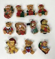 Christmas Holiday Teddy Bear Magnet Set Lot of 11