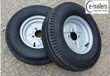 "PAIR 500x10 6ply HIGH SPEED TRAILER TYRES ON 4 STUD 4"" PCD WHEELS - 870Kg TOTAL"