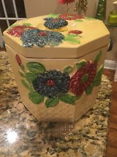 Vintage Ceramic Flower Basket Weave Cookie Jar Made in Japan