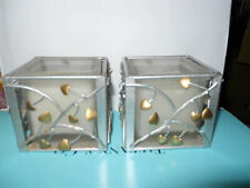 """Hallmark HEARTS CANDLES (2) Silver / Gold Metal Opaque Glass White  3"""" X 3"""""""