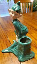 "Rare Vtg 1951 Dark Green Pixie Elf Planter Gilner California Pottery  7.5 """