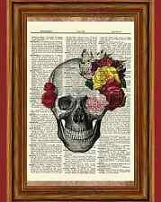 Sugar Rose Skull Dictionary Art Print Picture Poster Halloween Skeleton Day Dead