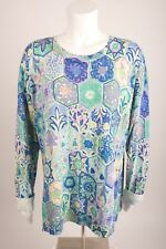 Talbots Women's Floral Tunic Sweater XL Blue Green Purple Boat Neck 3/4 Sleeves