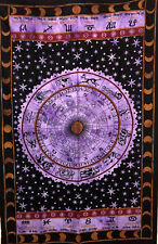 Purple Color Design Picture Twin Size Cotton Tapestry Wall Hanging Bedspread Art