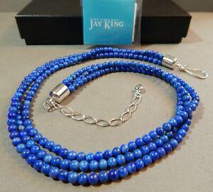 Jay King DRT Desert Rose Mine Finds Trading Lapis Bead Necklace Sterling Silver