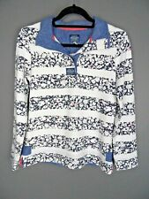 JOULES Cowdray Sweatshirt Size 8 Ladies Floral Striped Navy White Jumper Top