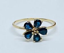 Sapphire Ring in gold  Size S Flower Design