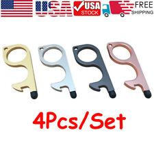 4Pcs/Set Clean Key Door Opener Handheld Brass EDC Keychain No Touch Hand Tool