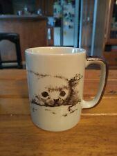 Otagiri Japan Baby Seal Coffee Tea Mug Cup Monotone Vintage! Adorable Baby Seal!