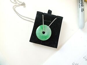 CHINESE GREEN JADE 30mm COIN DONUT PENDANT NECKLACE JEWELLERY WOMEN MEN PARTY AB