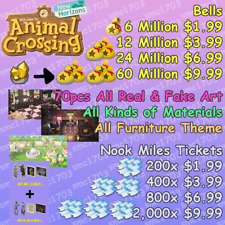 🚚 Animal Crossing:New Horizons Bells, Nook Miles Tickets, Fish Bait, Redd's Art