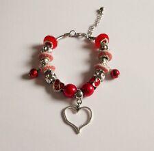 Rojo Con Cuentas Pulsera Europea Ajustable con encanto del corazón Bolsa De Regalo Gratis