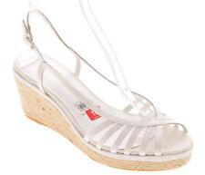 New ETIENNE AIGNER Women White Leather Slingback Wedge Open Toe Shoe Sz 10 M