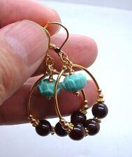 Beautiful Red Garnet W.  Carved Art Clay Gold Hoop  Earrings  A0525
