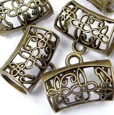 5 Scarf Pendant Charm Holding Antique Bronze Pewter Tube Slide Scarves