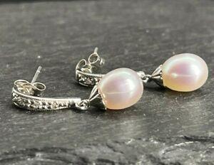 Vintage 14k White Gold Drop Dangle Earrings Diamonds Solitaire Pearls