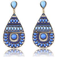 Women Vintage Boho Crystal Tibet Silver Hook Drop Dangle Earrings Jewelry Chic