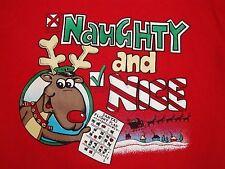Vintage Naughty and Nice Liar Rudolph Reindeer Santa Claus Christmas T Shirt L