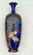 More details for stunning meiji period silver wire cloisonne vase japanese