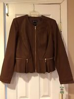 INC International Concepts Brown Faux-Leather Peplum Jacket (Brand New)