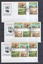 UNO Genf 2000 FDCs mit 16 Zusammendrucke von MiNr.  385-388  Gefährdete Arten